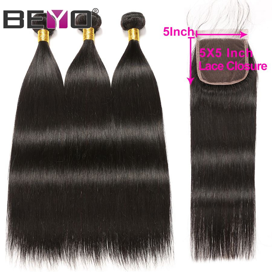 Straight Hair Bundles With Closure Brazilian Hair Weave Bundles With Closure Human Hair 5x5 Closure With