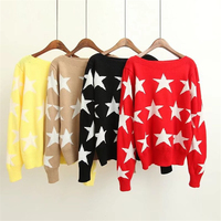 Autumn Fashion Women Korean Style Casual Five-Pointed Star Print Pullovers Sweaters Slash Neck Collar Loose Brief Comfortable
