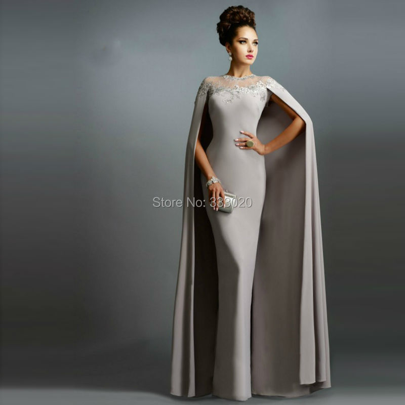 Dubai Kaftan Silver Jersey Long Fitted Cape font b Evening b font font b Dress b