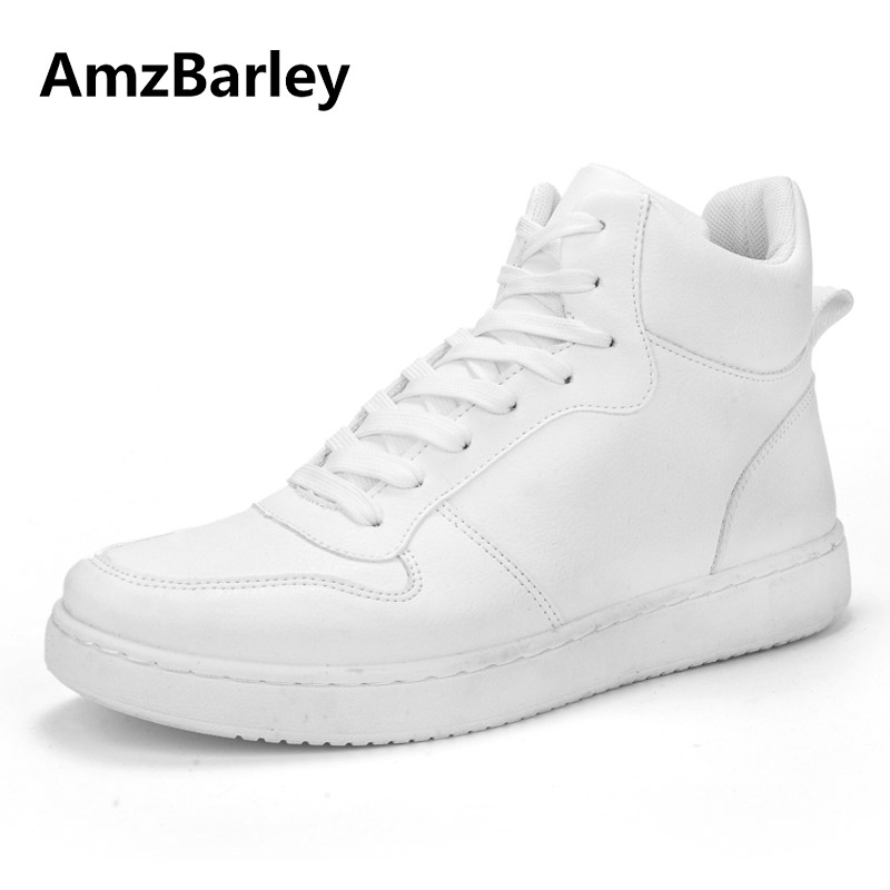 AmzBarley Men Shoes Man Flats High Top Footwear Hip Hop Leather Lace Up Casual White Black Fashion Leisure Crossfit 2018 northmarch high quality men white leather shoes high top men s casual shoes breathable man lace up brand shoes