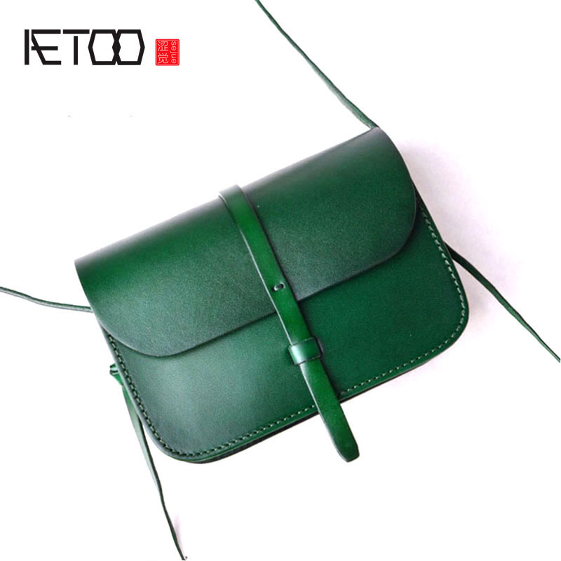AETOO The first layer of pure leather mini handmade Messenger mobile phone bag full leather retro color vegetable tanned leather