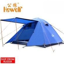 (Le bateau De La Russie) Hewolf Extérieure 3-4 Personne Double Couche Tente Super Forte Imperméable de Camping Tente pour la Pêche Chasse Aventure