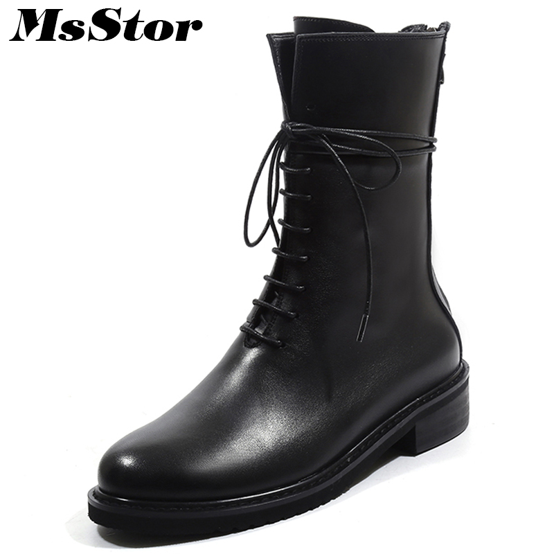 Msstor Women Boots Square heel Lace Up Round Toe Ankle Boots Women Shoes Fashion Genuine Leather Low Heel Boots Shoes For Girl цена 2017