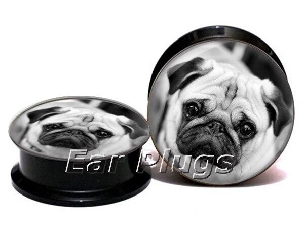 Wholesale cute pug plug gauges acrylic screw ear plug flesh tunnel piercing body jewelry ASP0767