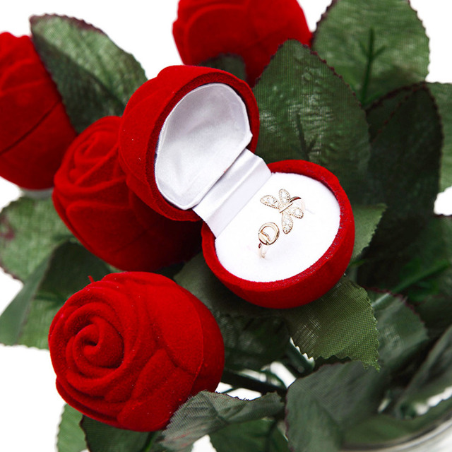 Creative Propose Jewelry Organizer Gift Case Red Rose Flower Wedding
