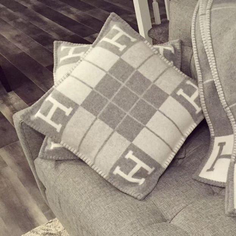 U-miss H Cushion Cover Wool Nordic Knitted Jacquard Geometric Cushions Covers Home Decor Throw Pillow Case for Sofa 45*45