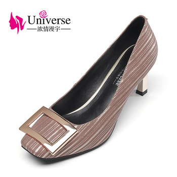 Universe 2017 New Arrival Women's Shoes Square Toe Casual Sheepskin High Heels G043