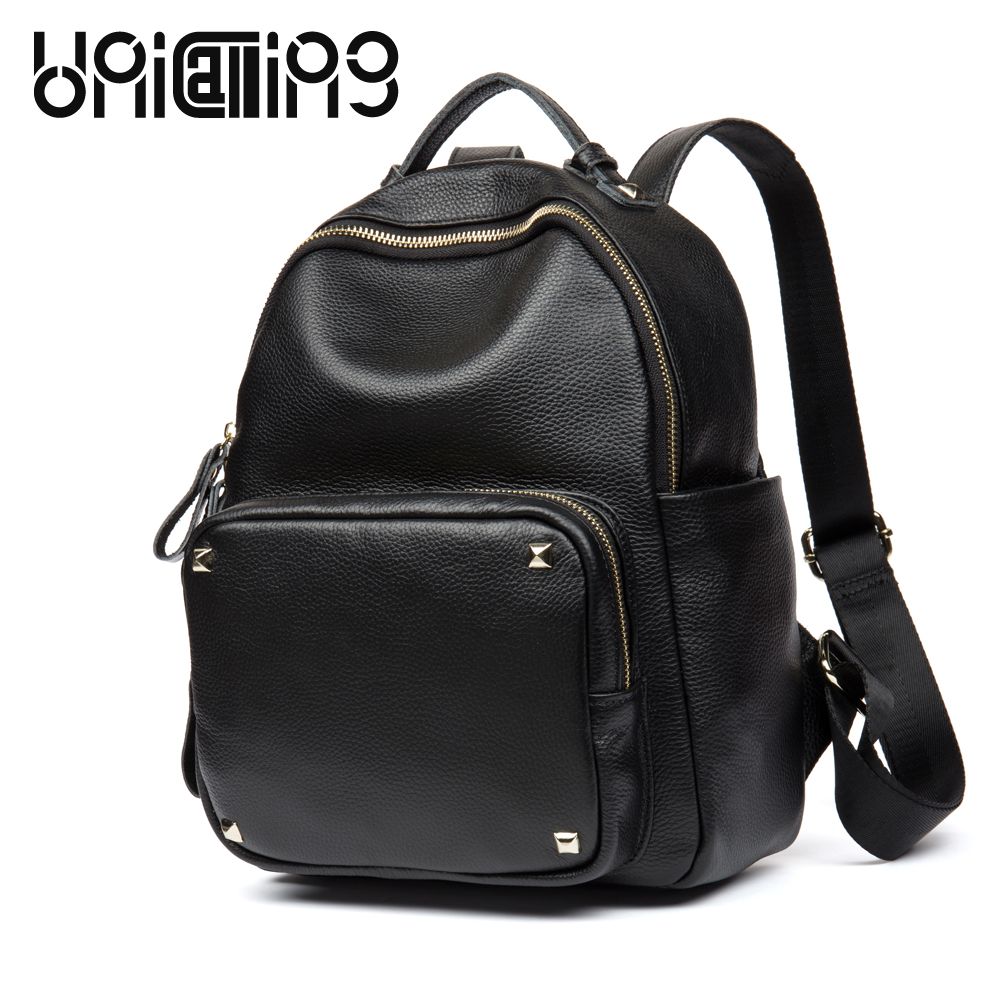 UniCalling New style rivet Genuine Leather women anti theft backpack Fashion Large capacity zipper cow leather backpack women noreva вода мицеллярная очищающая успокаивающая сенсидиан 400 мл