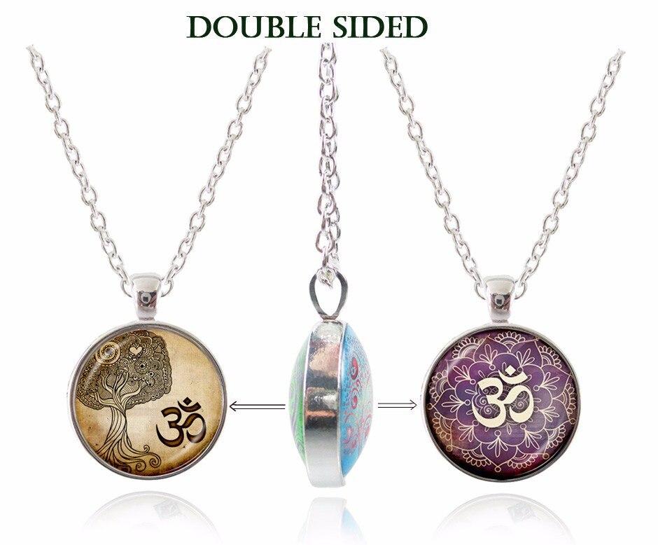 Буддизм изделия старинные ом ожерелье Мандала Подвеска Двусторонняя yoga  цветок ожерелье цепь серебряное ожерелье zen чакра колье ba37b55c268