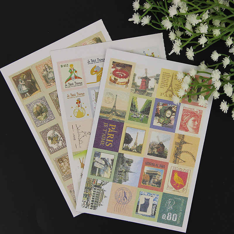 4 Sheets/1 Bags DIY New Vintage Classic Stamp Sticker Prince Paris Sticky Scrapbooking Paper for Diary Decor Stationery