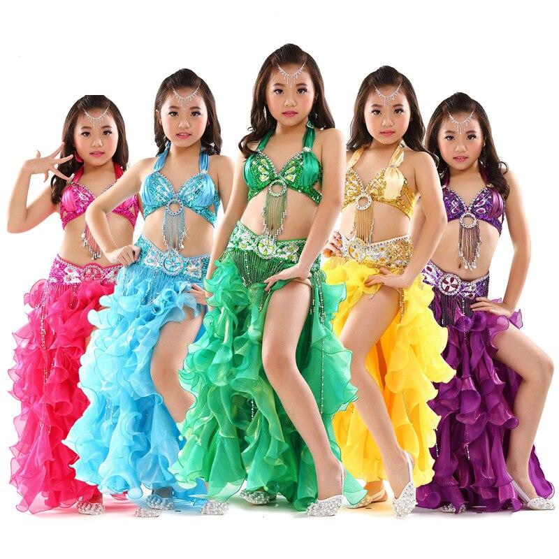 Ensemble de Costume de danse du ventre enfants Oriental perlé soutien-gorge ceinture Tutu jupe 3 pièces danse du ventre vêtements danse du ventre enfants