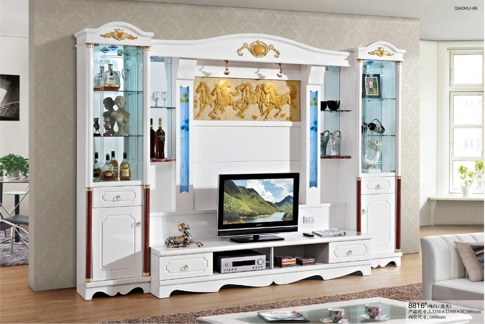 Simple tv cabinet glass shelf white paint modern brief tv wall unit ...
