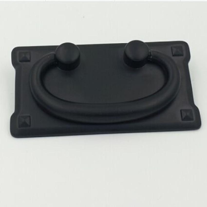 цена на 76mm Rustico Retro furniture handle black parallelmount drawer cabinet pull antique black shaky drop ring dresser door handle 3