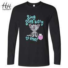 HanHent Soft Kitty Tee shirts Long Sleeves Men Cotton Cute T-shirts Cat Spring Casual Style Printed The Big Bang Theory T shirt(China)