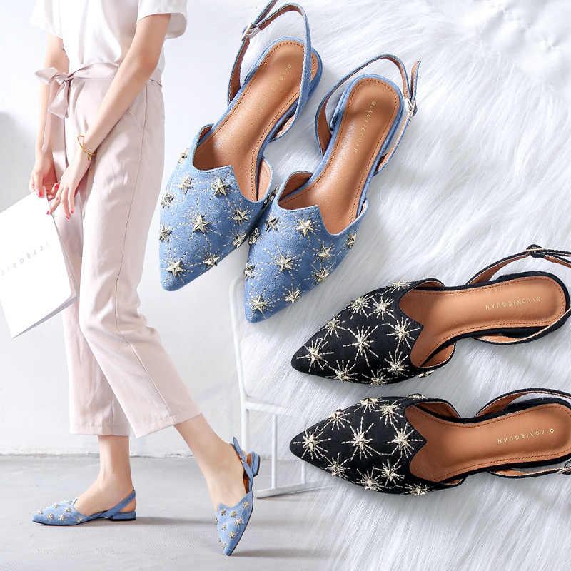 Designer puntschoen borduren platte sandalen vrouwen merk nieuwe klinknagels decoratie gladiator sandalias rugband sandalhas y732