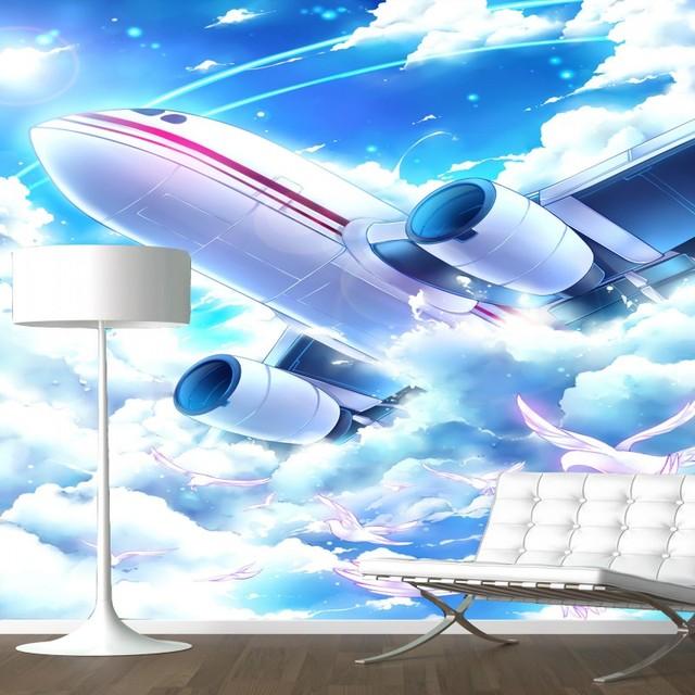 US $12.61 30% OFF|3D fototapete 3D fototapete Benutzerdefinierte stereo  Wandbild flugzeug wandbild gang Hintergrund wand wohnzimmer schlafzimmer ...
