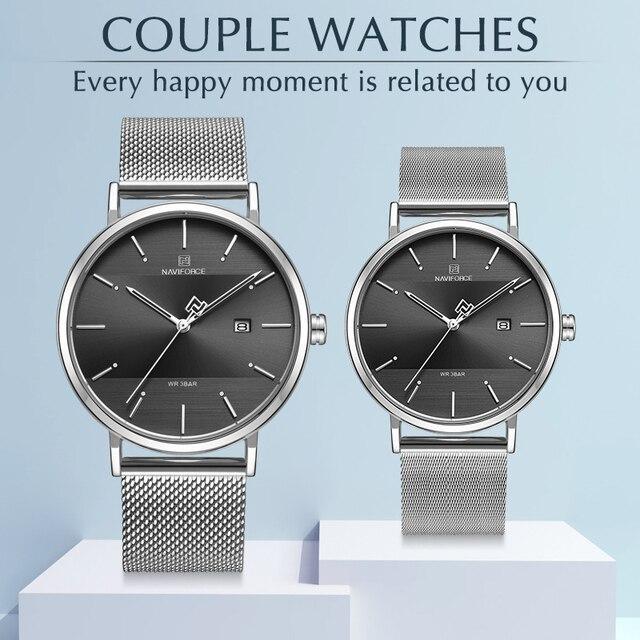 חדש Mens שעונים NAVIFORCE יוקרה מותג קוורץ פשוט גברים נשים סט שעון עמיד למים גברים של זוג שעוני יד Relogio Masculino