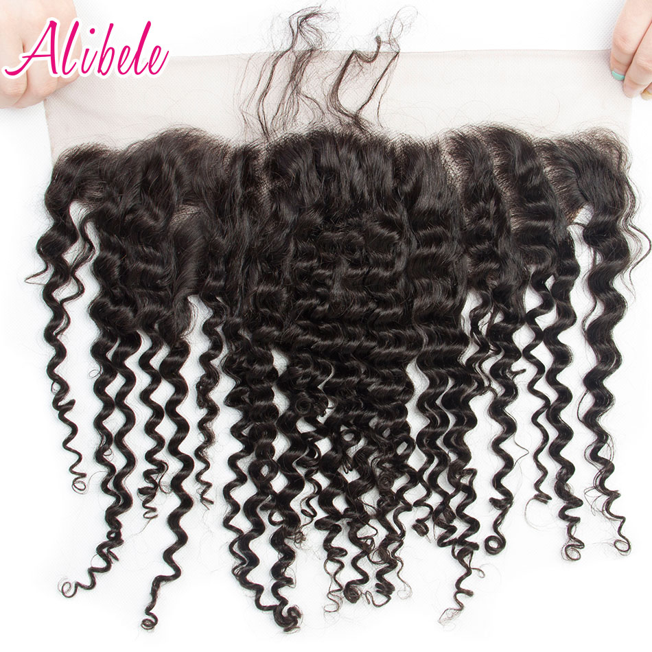 Alibele Indian Deep Curly Hair 13x4 Ear To Ear Lace Frontal Closure With Baby Hair Pre