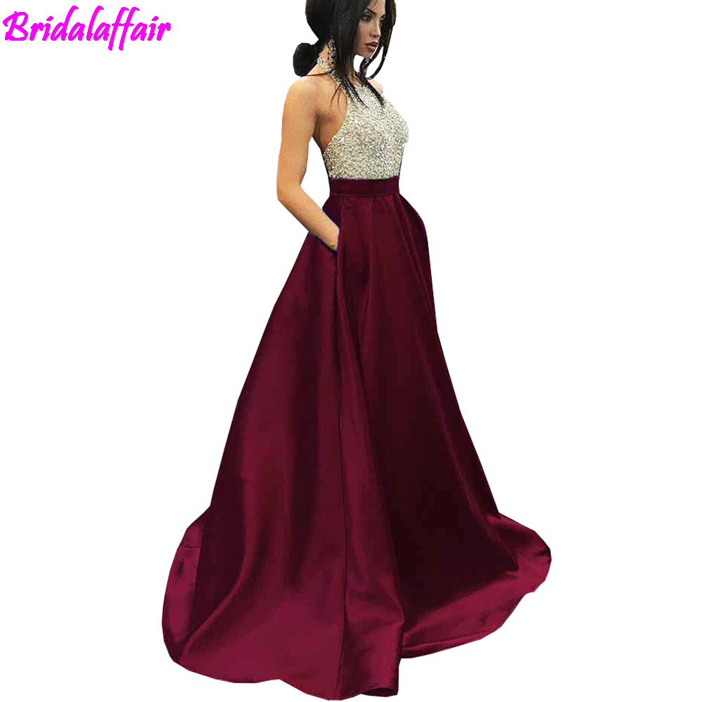 2018 Burgundy Seauined Prom Dresses Long Halter Satin Beaded Evening Gown Party For Wedding Vestidos De