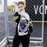 TREND Setter 2018 Autumn Fashion Dog Sequins Sweatshirt Women Hip Hop Turtleneck Pullovers Ladies Gold Chain Dog