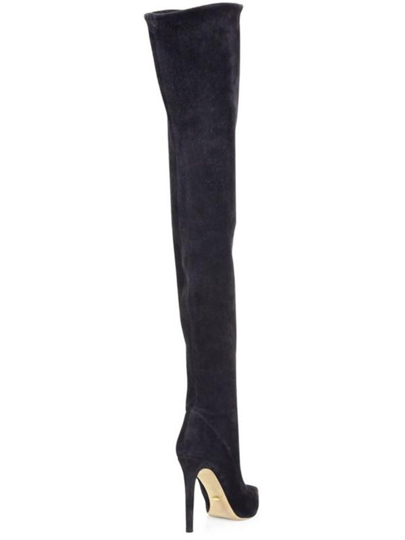 De Rodilla Fiesta 34 2017 Moda Puntiagudos Tamaño gris marrón Botas Tacones Sobre Zapatos La 48 Sexy Nuevo Negro Altos Grande Mujer Doratasia wZadq8Ia
