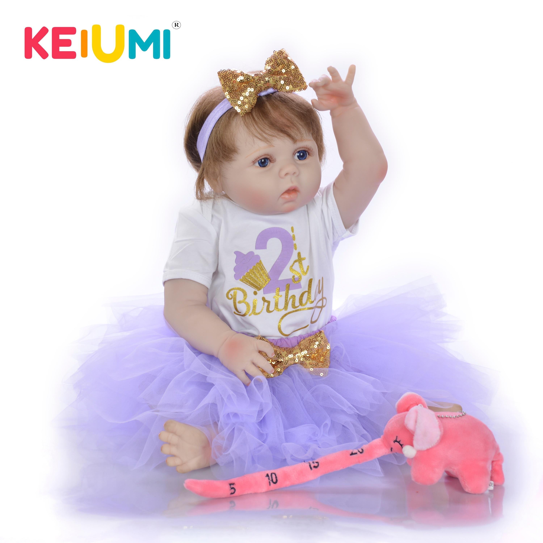 KEIUMI 23 Inch Silicone Reborn Baby Dolls Realistic Menina Boneca Reborn Full Vinyl Body Toy For