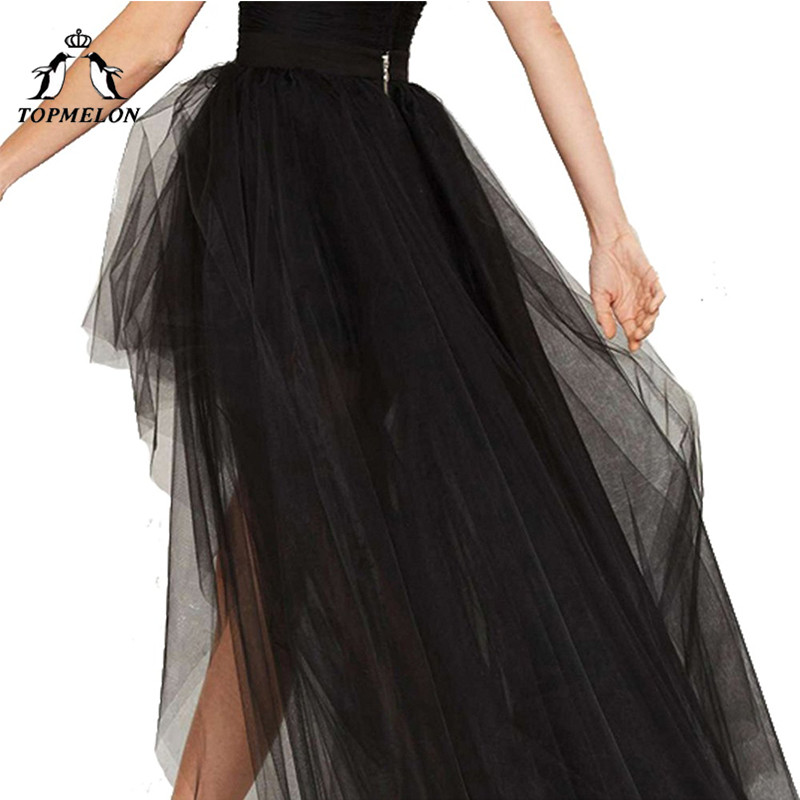 Image 3 - TOPMELON Women's Punk Skirt Female Gothic Tulle Skirt Summer Steampunk Long Skirt Ball Gown Black Mesh Shows Dance Party Skirts-in Skirts from Women's Clothing