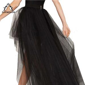 Image 2 - Женская фатиновая юбка TOPMELON, черная Готическая длинная юбка в стиле стимпанк, вечерние бальные юбки для танцев, лето 2019