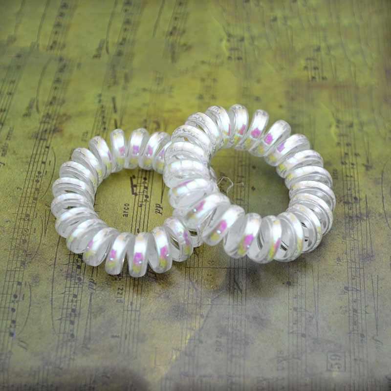 Lotes de 10 piezas AB blanco elástico de goma para el cabello banda de cuerda para el cabello para chica