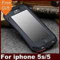5S 100% Original Streamline Waterproof caso Dirtproof Shockproof Metal de Alumínio + Gorilla Glass para Apple iphone 5S SE 5 tampa
