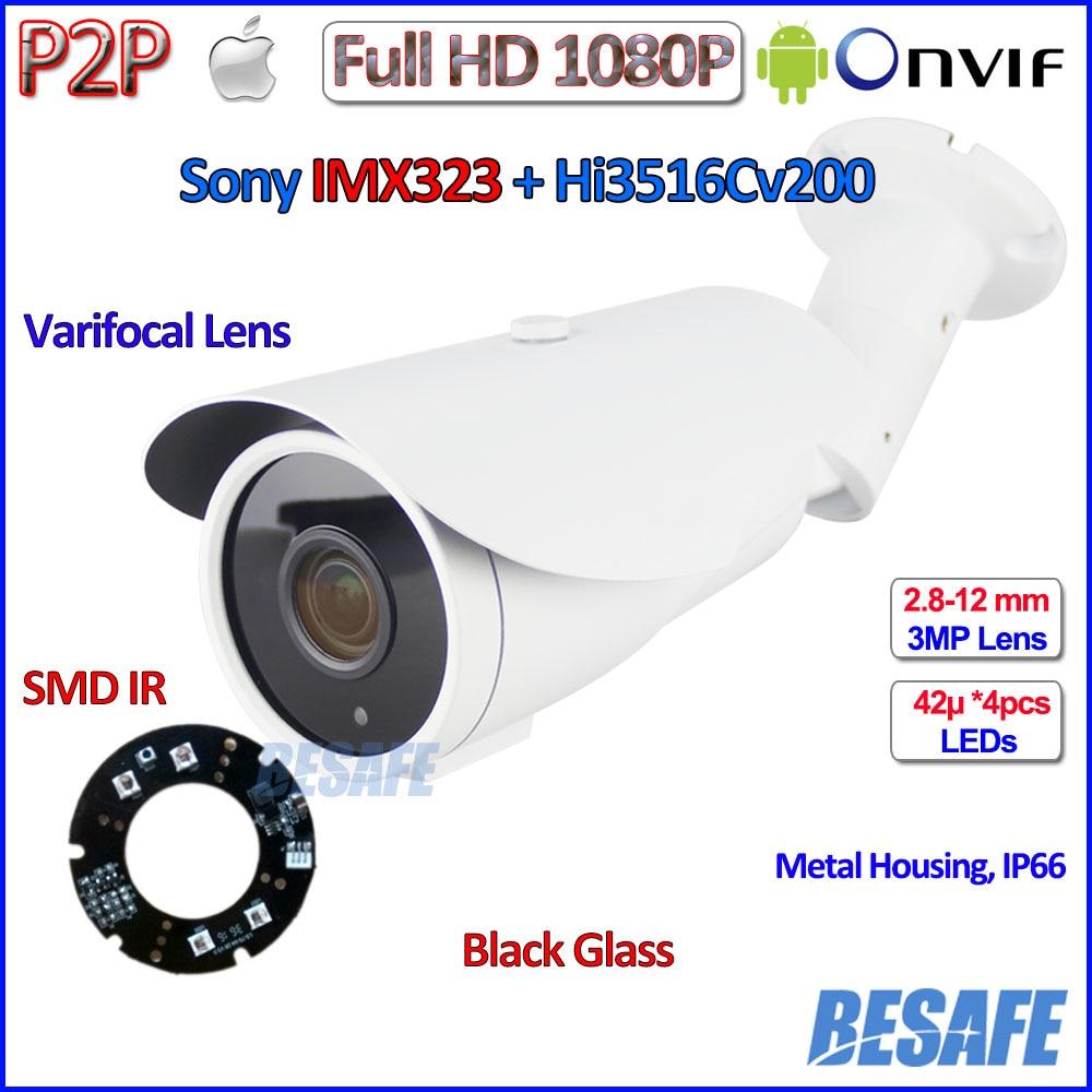 ФОТО 1080p ip camera Night Vision ONVIF 2MP cctv camera outdoor Megapixels surveillance SONY IMX323 3MP HD Lens, IR-CUT, P2P, bracket