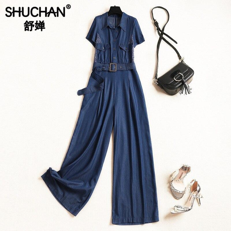 Shuchan Denim combinaisons femmes salopette à manches courtes décontracté poches mode Nova femme pantalon mode 2019 11303