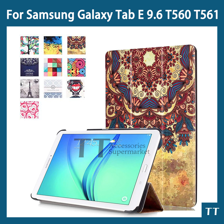 case for samsung t560 t561 Magnet Stand pu Leather case For Samsung Galaxy Tab E T560 T561 9.6 Tablet cover case + free 2 gifts luxury flip stand case for samsung galaxy tab 3 10 1 p5200 p5210 p5220 tablet 10 1 inch pu leather protective cover for tab3