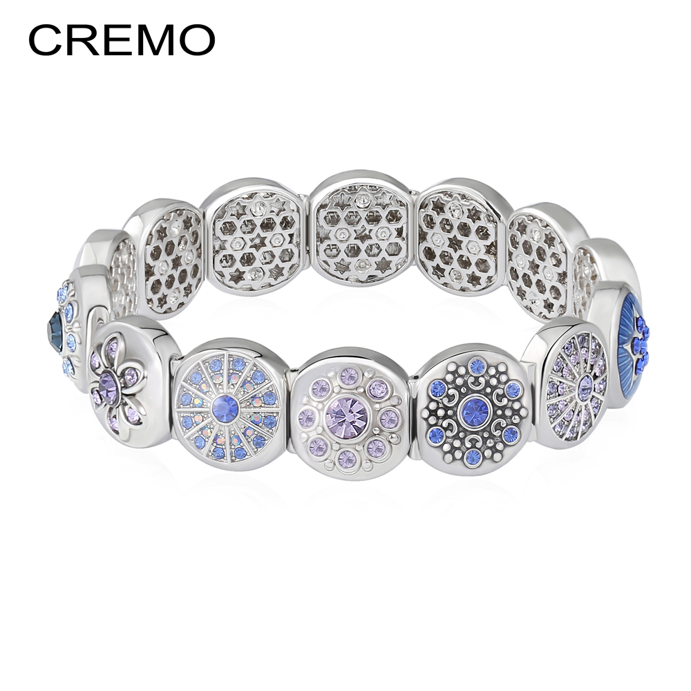 Cremo Modular Links Charms-Bracelet Flower Blue Enamel Elastic Bracelet Femme Personalized Pulseiras Shinning Zircon Jewellery