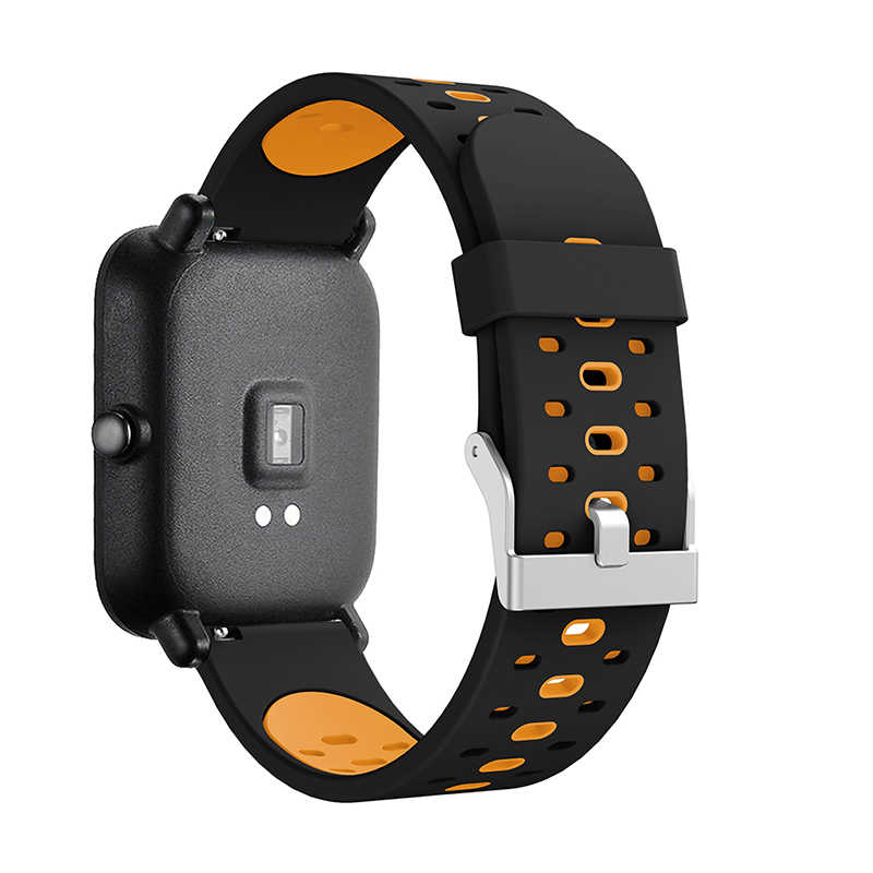 New Silicone Strap Bracelet For Huami Youth Edition Samsung active three-row hole two-color silicone belt watch band