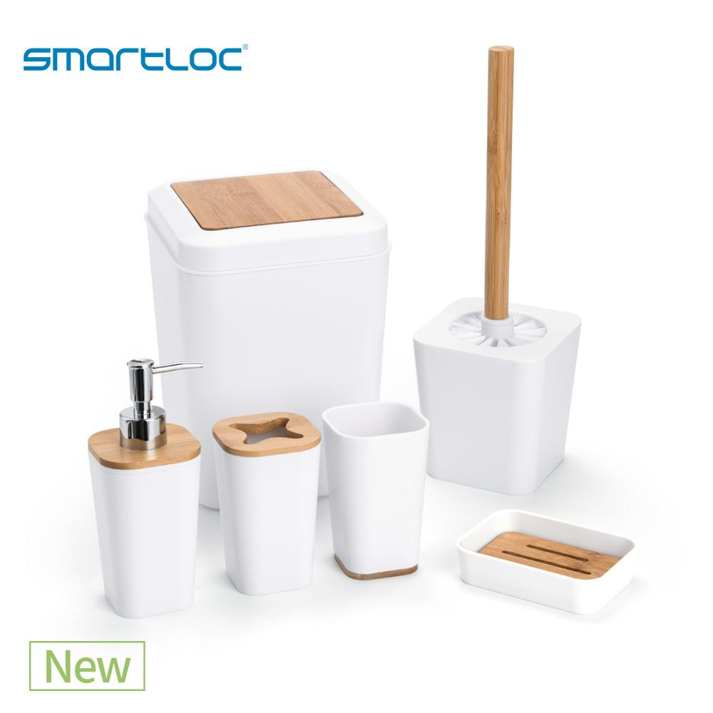 Set of 6 smartloc Plastic Bathroom Accessories Set Toothbrush Holder Toothpaste Dispenser Case Soap Box Toilet Shower Storage image