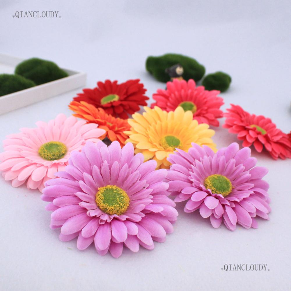 2 pieces Artificial African Daisy Sunflower Silk Flower Heads For ...