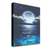 Framed Seascape with Moon Wall Art Painting Landscape Picture Print on Canvas Blue Sea Poster for Living Room Bedroom Hom Decor