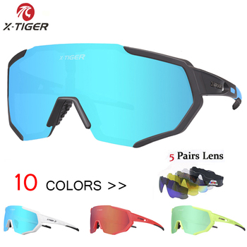 Óculos 5 lentes polarizadas para ciclismo, armação para miopia, óculos de sol para andar de bicicleta e esportes ao ar livre, unissex, X-TIGER 1