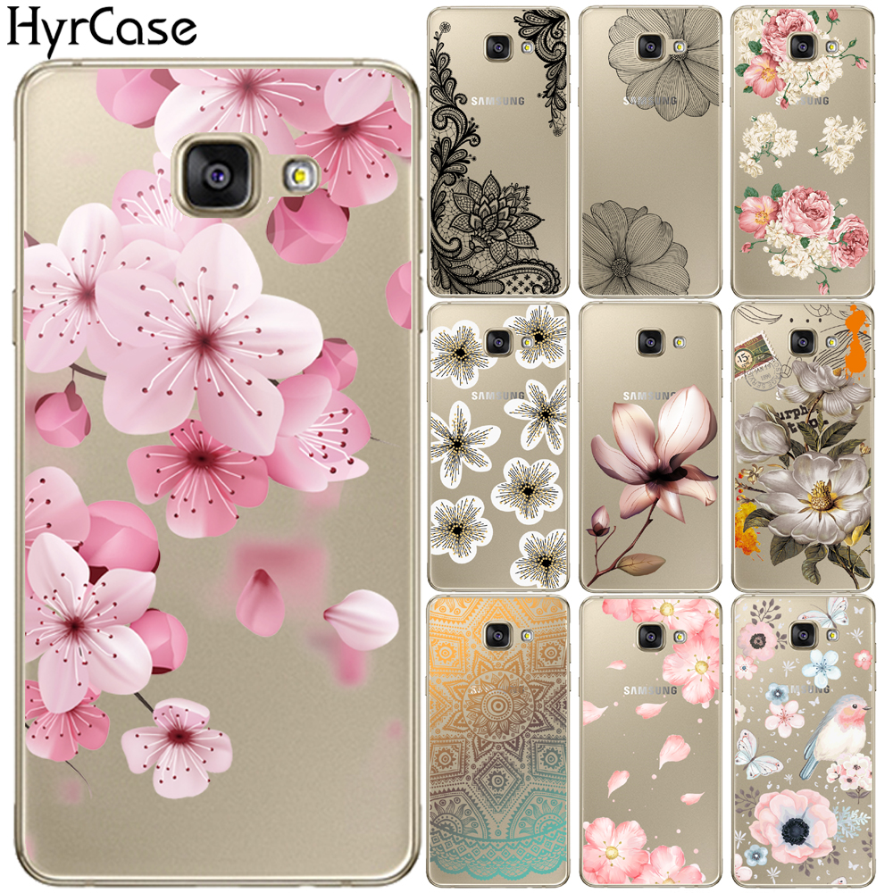 Sexy Floral Soft TPU <font><b>Case</b></font> Cover For <font><b>Samsung</b></font> <font><b>Galaxy</b></font> <font><b>A3</b></font> A5 A7 2016 <font><b>2017</b></font> A6 A8 Plus A7 2018 A9 Star A30 A50 Flower <font><b>Silicone</b></font> Coque image