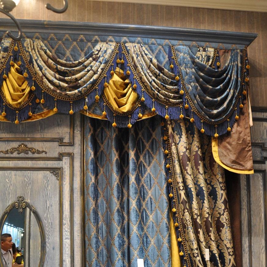 Işık Kraliyet Mavi Gökyüzü Mavi Altın Salon valance ile Kanca - Ev Tekstili - Fotoğraf 3