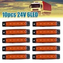 10pcs Yellow 24V 6 LED Side Marker Indicator Light Lamps For Bus Truck Trailer