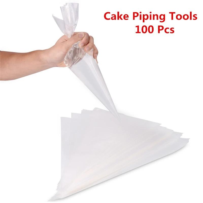 Transparent S. 100 Dicker Einweg-Spritzbeutel aus Kunststoff Icing Piping Cake Cupcake Dekorationsbeutel