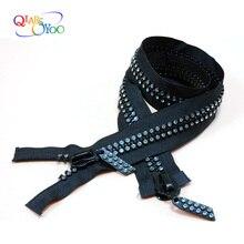 60/70/80cm rhinestone Zipper 10# double open-end of shiny diamond zip down jacket coat zipper DIY Clothes Sewing Accessories