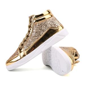 Image 5 - Мужские кроссовки с высоким берцем, удобные повседневные уличные кроссовки золотистого и серебряного цвета, 2019