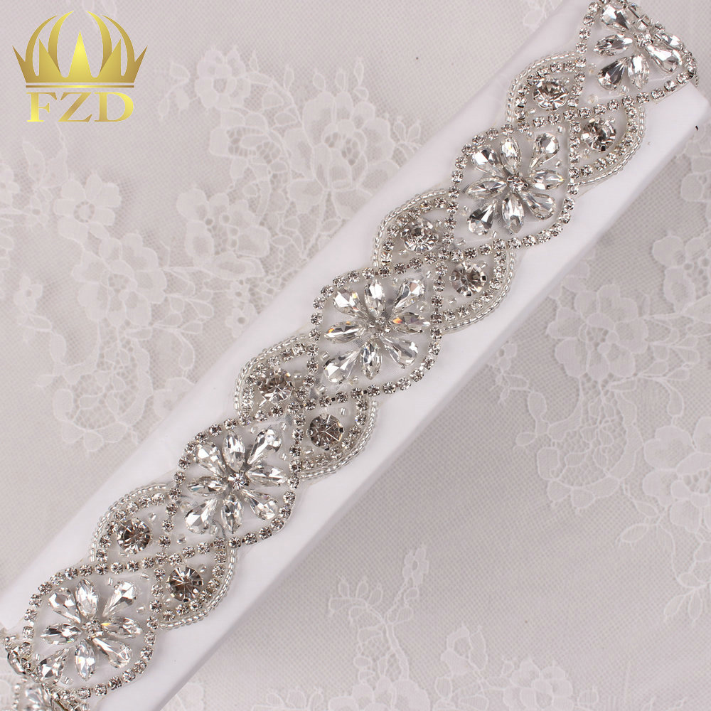 10yards Wholesale Iron On Sewing Beaded Clear Handmade Crystal Bridal Sash Rhinestone Appliques Trimming