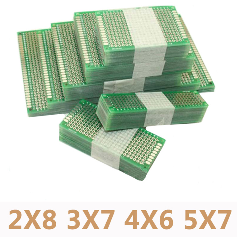 цена на 20pcs/lot 5x7 4x6 3x7 2x8cm Double Side Prototype Diy Universal Printed Circuit PCB Board Protoboard For Arduino