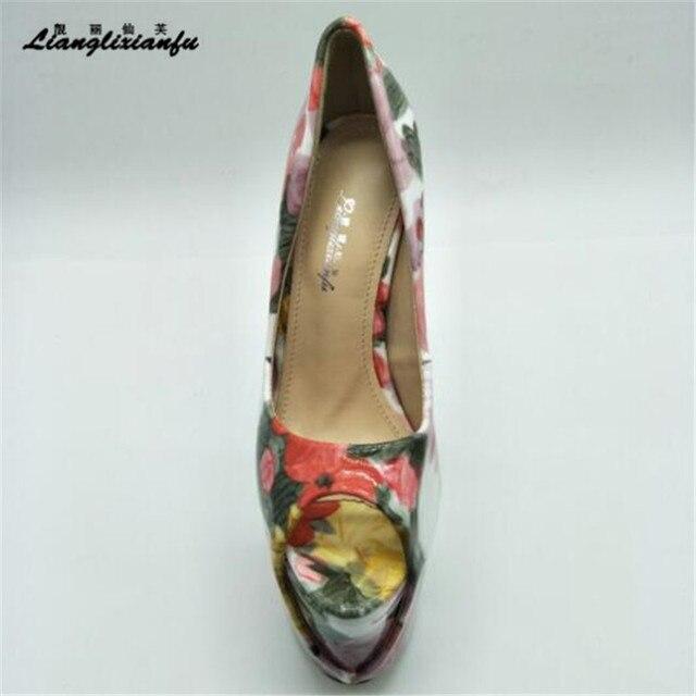 LLXF Plus 34-45 46 47 Stiletto bride à la cheville Peep orteil Sexy 19cm chaussures à talons hauts femme en cuir verni été sandales femme pompes