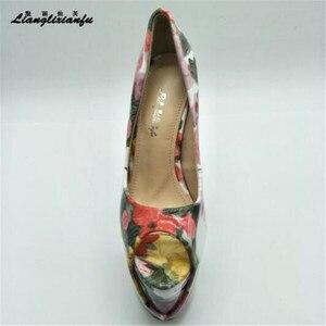 Image 4 - LLXF Plus: 34 45 46 47 Stiletto kostki pasek Peep Toe Sexy 19cm buty na wysokim obcasie kobieta lakierki letnie klapki damskie pompy