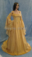 New Natural Satin Floor length Handfasting Medieval Movie Dress Renaissance Fantasy Gown Custom Made /Theater